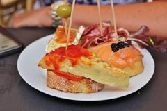 Tapas in Barcelona. An assortment of delicious tapas at an outdoor cafe in Barcelona Stock Photo