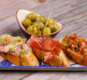 Tapas Bruschetta Royalty-vrije Stock Foto's