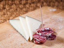Tapas of Cheese and spanish sausage Royalty Free Stock Image
