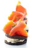 Tapas con los salmones Imagen de archivo