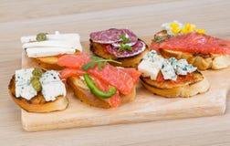 Tapas con queso, salami y salmones Imagen de archivo libre de regalías