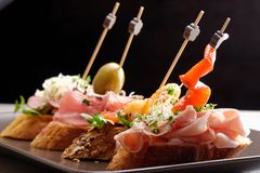 Tapas on Crusty Bread Stock Photos