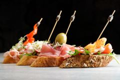 Tapas on Crusty Bread Royalty Free Stock Photo