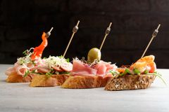 Tapas on Crusty Bread Stock Images