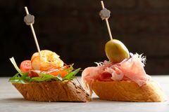 Tapas on Crusty Bread Royalty Free Stock Image