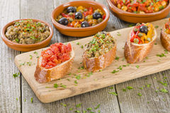 Tapas on Crusty Bread Royalty Free Stock Photography