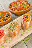 Tapas on Crusty Bread Stock Photography