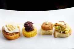 Tapas on Crusty Bread - Selection of Spanish tapas Royalty Free Stock Photo