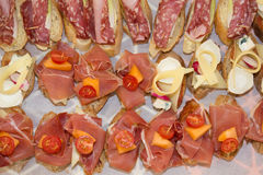 Tapas on Crusty Bread tapas served on a sliced baguette. stock photos
