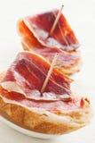 Tapas de jambon de Jabugo Images libres de droits