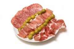 tapas de viande de plaque Images stock