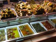 Tapas di Madrid in Mercado de San Miguel Spain Fotografia Stock Libera da Diritti