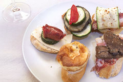 Tapas. With different ingredients. Typical spanish product Stock Image