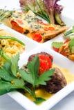 Tapas dishes. Mixed tapas on white background Stock Image