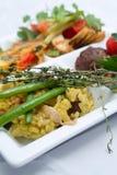 Tapas dishes. Mixed tapas on white background Royalty Free Stock Photo