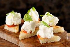 Tapas españoles de la comida Pan tostado con queso fresco Fotografía de archivo libre de regalías