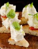 Tapas españoles de la comida Pan tostado con queso fresco Imagen de archivo libre de regalías