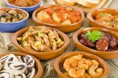 Tapas españoles y pan crujiente Fotografía de archivo libre de regalías
