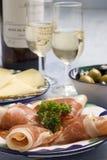 Tapas espagnols. Jambon de Serrano. Images stock