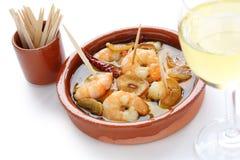 tapas för spanjor för räkor för vitlök för ajilloalgambas Royaltyfri Fotografi