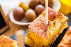 Tapas för spansk omelett Arkivbild