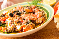 Tapas of fish and vegetables Stock Photos
