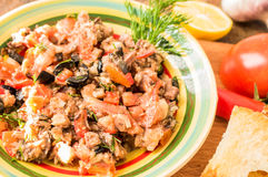 Tapas of fish and vegetables Royalty Free Stock Image