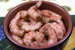 Tapas garlic prawns Stock Images