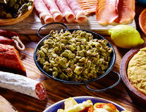 Tapas habas con morcilla lima beans Spain Royalty Free Stock Photography
