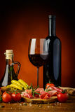 Tapas, ham and red wine Royalty Free Stock Photo