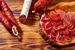 Tapas Iberico ham and lomo sausage Spain Stock Images