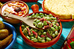 Tapas lima beans with iberico ham from Spain Royalty Free Stock Images