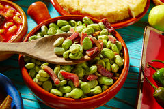 Tapas lima beans with iberico ham from Spain Stock Image