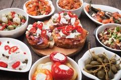 Tapas lub antipasto jedzenie Fotografia Stock