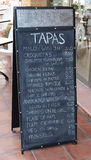 Tapas Menu. A Tapas menu Board in Spain Stock Images