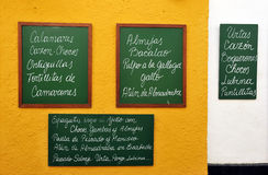 Tapas menu, owoce morza, restauracja Zdjęcia Stock