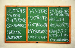 Tapas menu, seafood, restaurant. Blackboard fresh fish restaurant with menu of the day, fried fish, seafood, shrimp, Andalusia, Spain, Southern Europe Stock Image