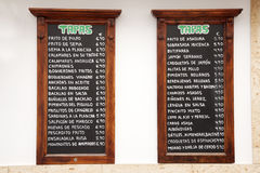 Tapas Menus, Spain Stock Image