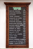 Tapas Menus, Spain Stock Images
