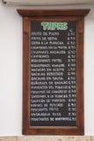 Tapas Menus, Spain Royalty Free Stock Photo