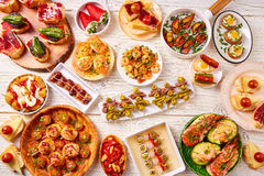 Tapas mix and pinchos food from Spain Stock Photography