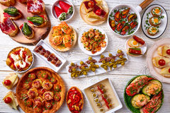 Tapas mix and pinchos food from Spain Stock Images