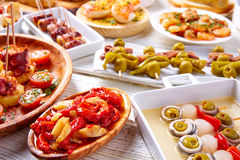Tapas mix and pinchos food from Spain Stock Image