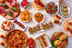 Tapas mix and pinchos food from Spain Royalty Free Stock Photo