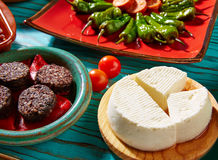 Tapas Morcilla and cheese de Burgos from Spain Stock Images