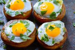 Tapas mushrooms with quail eggs from Spain Stock Photo