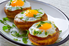 Tapas mushrooms with quail eggs from Spain Royalty Free Stock Images