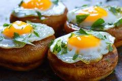 Tapas mushrooms with quail eggs from Spain Stock Photos