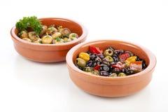 Tapas, olives et champignons de couche espagnols Images stock