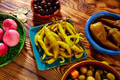 Tapas pickles mix olives chili onion eggplant Stock Photos